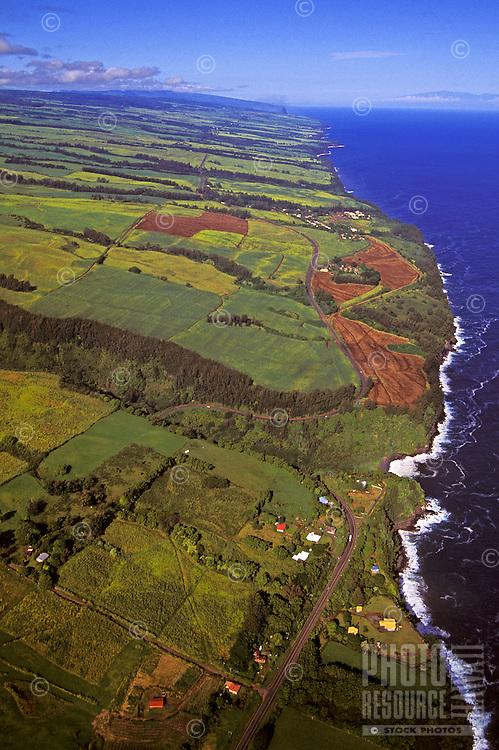 Aerial of the rugged pristine Hamakua coast on the northeast end of the Big Island of Hawaii.
