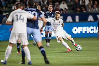 CARSON, CA - MARCH 07: Aleksandar Katai #7 of the Los Angeles Galaxy takes a shot during a game between Vancouver Whitecaps and Los Angeles Galaxy at Dignity Health Sports Park on March 07, 2020 in Carson, California.