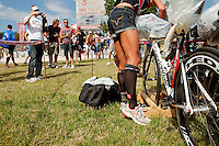 Chrissie Wellington racks her bike the day before the Challenge Roth Ironman Triathlon, Roth, Germany, 09 July 2011