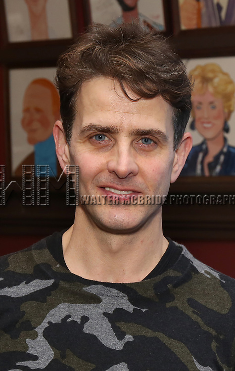 "Joey McIntyre attends the photocall for Joey McIntyre and Eddie Jamison join the cast of Broadway's ""Waitress"" at Sardi's on January 29, 2019 in New York City."