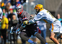 17 March 2012: Sacred Heart University Pioneer Midfielder Peter Mormino, a Junior from Farmingdale, NY, in action against the University of Vermont Catamounts at Virtue Field in Burlington, Vermont. The visiting Pioneers rallied to tie the score at 11 with five unanswered goals, dominating the 4th period. However the Cats scored with only 10 seconds remaining in the game to defeat the Pioneers 12-11 in their non-conference matchup. Mandatory Credit: Ed Wolfstein Photo
