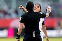CARSON, CA - FEBRUARY 07: Shirley Cruz #10 of Costa Rica and referee Lucila Montes have a few words with each other during a game between Canada and Costa Rica at Dignity Health Sports Park on February 07, 2020 in Carson, California.