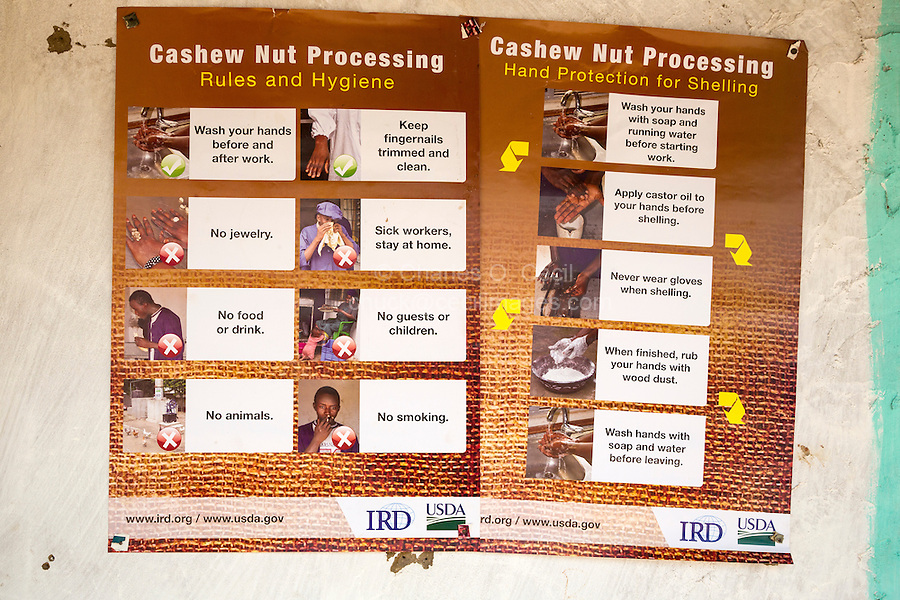 Cashew Nuts.  Sign Posting Rules and Hygiene for Workers.   Group Juboo Cashew Processing Center, Fass Njaga Choi, North Bank Region, The Gambia