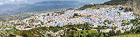 """Chefchaouen, Morocco.  View of the Town from the """"Spanish Mosque.""""  Rif Mountains in the Distance."""