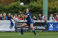 Joe Luca Smith of London Scottish collects the high ball during the Greene King IPA Championship match between London Scottish Football Club and Ealing Trailfinders at Richmond Athletic Ground, Richmond, United Kingdom on 8 September 2018. Photo by David Horn.