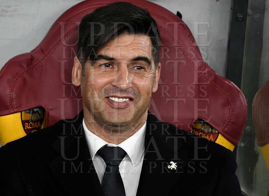 Football Soccer: UEFA Europa League round of 32 first leg AS Roma vs KAA Gent, Olympic stadium, Rome, 20 February, 2020.<br /> Roma's coach Paulo Fonseca prior to the Europa League football match between Roma and Gent at the Olympic stadium in Rome on 20 February, 2020.<br /> UPDATE IMAGES PRESS/Isabella Bonotto