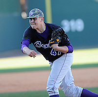 Pitcher Jonathan Waszak (47) of the Western Carolina Catamounts in a game against the Cincinnati Bearcats on Sunday, February 24, 2013, at Fluor Field in Greenville, South Carolina. Cincinnati won in 10 innings, 7-6. (Tom Priddy/Four Seam Images)