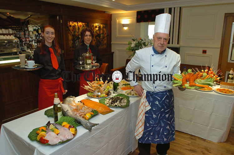 Chef Lachini with Monica and Adrianna from Juliano's Restaurant at the Ashford Court Hotel in Ennis. Photograph by John Kelly.