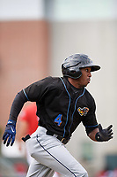 Akron RubberDucks center fielder Greg Allen (4) runs to first base after hitting a double during a game against the Erie SeaWolves on August 27, 2017 at UPMC Park in Erie, Pennsylvania.  Akron defeated Erie 6-4.  (Mike Janes/Four Seam Images)