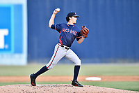 Rome Braves starting pitcher Ian Anderson (19) attempts a pickoff during a game against the Asheville Tourists at McCormick Field on June 9, 2017 in Asheville, North Carolina. The Braves defeated the Tourists 2-0. (Tony Farlow/Four Seam Images)