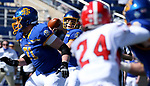 BROOKINGS, SD - MARCH 13: Mark Gronowski #11 of the South Dakota State Jackrabbits looks for a receiver against the Youngstown State Penguins at Dana J. Dykhouse Stadium on March 13, 2021 in Brookings, South Dakota. (Photo by Dave Eggen/Inertia)