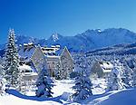 Germany, Bavaria, Upper Bavaria, Werdenfelser Land: Kranzbach castle and Karwendel Mountains