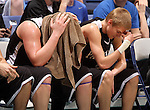 SIOUX FALLS, SD - MARCH 17: Dakota Valley's Evan Steemken, left, and teammate Blake VanGinkel realize their chance for a state championship is slipping away against St. Thomas More late in the second half of the 2012 Class A Boys Basketball Championship Saturday night at the Sioux Falls Arena. St. Thomas More won 63-56. (Photo by Dave Eggen/Inertia)