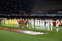 Thursday 27 February 2014<br /> Pictured: Napoli  and Swansea players line up before kick off<br /> Re: UEFA Europa League, SSC Napoli v Swansea City FC at Stadio San Paolo, Naples, Italy.