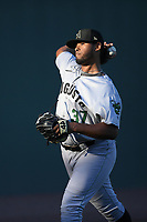 Starting pitcher Norwith Gudino (26) of the Augusta GreenJackets warms up before a game against the Greenville Drive on Thursday, August 29, 2019, at Fluor Field at the West End in Greenville, South Carolina. Augusta won, 11-0. (Tom Priddy/Four Seam Images)