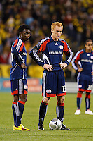 25 OCTOBER 2009:  Kenny Mansally of the New England Revolution (29) and Jeff Larentowicz of the New England Revolution (13) during the New England Revolution at Columbus Crew MLS game in Columbus, Ohio on October 25, 2009.