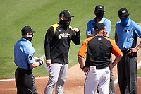 Pittsburgh Pirates manager Derek Shelton (17) during the lineup exchange before a Major League Spring Training game against the Baltimore Orioles on February 28, 2021 at Ed Smith Stadium in Sarasota, Florida.  (Mike Janes/Four Seam Images)