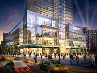 An artist's rendering of AURA's podium located at the corner of Hayter Street and Yonge. The podium, at the base of the 75 storey tower, offers 190,000 sq. ft of prime retail space plus recreational areas. AURA will be Canada's largest condo tower. (CNW Group/Canderel Stoneridge Equity Group)