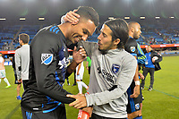 San Jose, CA - Wednesday June 28, 2017: Danny Hoesen, Jahmir Hyka during a U.S. Open Cup Round of 16 match between the San Jose Earthquakes and the Seattle Sounders FC at Avaya Stadium.