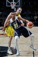July 12, 2016: STEPHEN DOMINGO (31) of the California Golden Bears protects the ball during game 1 of the Australian Boomers Farewell Series between the Australian Boomers and the American PAC-12 All-Stars at Hisense Arena in Melbourne, Australia. Sydney Low/AsteriskImages.com