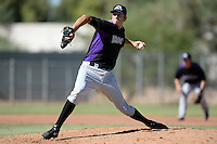 Colorado Rockies pitcher Kraig Sitton (46) during an instructional league game against the Los Angels Angels of Anaheim on September 30, 2013 at Tempe Diablo Stadium Complex in Tempe, Arizona.  (Mike Janes/Four Seam Images)