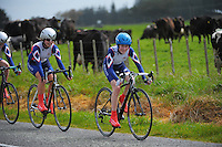Waikato Diocesan School For Girls junior C under-16 girls in action during the NZ Schools Road Cycling championship day one time trials at Koputaroa Road, Levin, New Zealand on Saturday, 27 September 2014. Photo: Dave Lintott / lintottphoto.co.nz