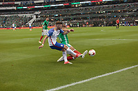 Mexico City, Mexico - Sunday June 11, 2017: Paul Arriola, Chicharito during a 2018 FIFA World Cup Qualifying Final Round match with both men's national teams of the United States (USA) and Mexico (MEX) playing to a 1-1 draw at Azteca Stadium.