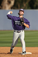Garrett Crain (34) of the TCU Horned Frogs throws before a game against the Loyola Marymount Lions at Page Stadium on March 16, 2015 in Los Angeles, California. TCU defeated Loyola, 6-2. (Larry Goren/Four Seam Images)