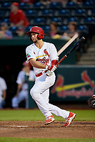 Springfield Cardinals second baseman Dickie Joe Thon (35) follows through on a swing during a game against the Corpus Christi Hooks on May 31, 2017 at Hammons Field in Springfield, Missouri.  Springfield defeated Corpus Christi 5-4.  (Mike Janes/Four Seam Images)