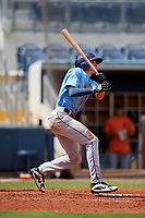 Tampa Bay Rays Beau Brundage (67) follows through on a swing during a Florida Instructional League game against the Baltimore Orioles on October 1, 2018 at the Charlotte Sports Park in Port Charlotte, Florida.  (Mike Janes/Four Seam Images)