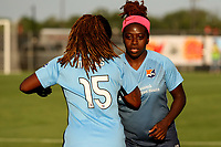 Piscataway, NJ - Wednesday June 28, 2017: Kayla Mills, Mandy Freeman prior to a regular season National Women's Soccer League (NWSL) match between Sky Blue FC and the Orlando Pride at Yurcak Field.