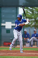 Los Angeles Dodgers Jordan Paroubeck (16) during an instructional league game against the Cleveland Indians on October 15, 2015 at the Goodyear Ballpark Complex in Goodyear, Arizona.  (Mike Janes/Four Seam Images)