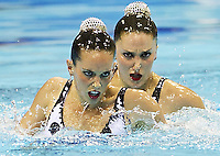 Spain ESP.CARBONELL Ona.FUENTES Andrea.London 2012 Olympic Synchronised Swimming Qualification Tournament.Day01 - Duet Technical.Photo Insidefoto / Giorgio Scala.