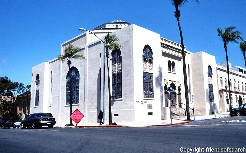 San Diego: Temple Beth Israel, Northwest corner of 3rd & Laurel. Built in 1926. William Wheeler, Arch. Mission style, NRHP 1978. Photo '80.