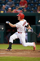 Springfield Cardinals second baseman Casey Turgeon (21) follows through on a swing during a game against the Corpus Christi Hooks on May 31, 2017 at Hammons Field in Springfield, Missouri.  Springfield defeated Corpus Christi 5-4.  (Mike Janes/Four Seam Images)