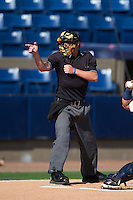 Umpire Jordan Johnson during a game between the Daytona Tortugas and Brevard County Manatees on August 14, 2016 at Space Coast Stadium in Viera, Florida.  Daytona defeated Brevard County 9-3.  (Mike Janes/Four Seam Images)
