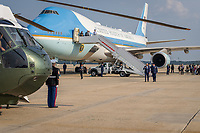 """President Joe Biden is escorted from Air Force One to Marine One by U.S. Air Force Col. William """"Chris"""" McDonald at Joint Base Andrews, Maryland, Wednesday, July 7, 2021, en route to the White House. (Official White House Photo by Adam Schultz)"""