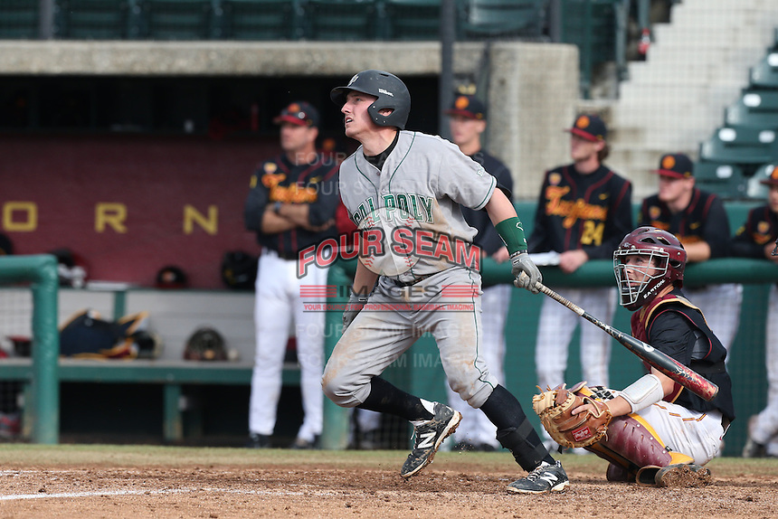 Jimmy Allen #15 of the Cal Poly Mustangs bats against the USC Trojans at Dedeaux Field on March 2, 2014 in Los Angeles, California. Cal Poly defeated USC, 5-1. (Larry Goren/Four Seam Images)