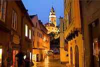 Colorful town center and castle at night, Cesky Krumlov, Czech Republic