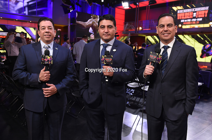 """LOS ANGELES - JANUARY 25: Jaime Motta, Erik Morales, and Rolando Nichols during a Los Angeles press conference on January 25, 2020 for the """"Wilder vs Fury II"""" FOX SPORTS PPV & ESPN+ PPV which will take place on Feb. 22 from the MGM Grand Garden Arena in Las Vegas. (Photo by Frank Micelotta/Fox Sports/PictureGroup)"""
