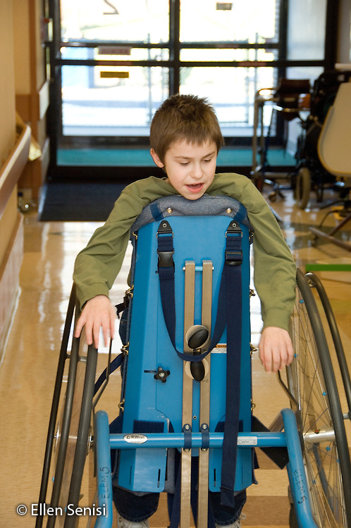 MR / Albany, NY.Langan School at Center for Disability Services .Ungraded private school which serves individuals with multiple disabilities.Child uses Mobile Prone Stander so he can move around independently. Boy: 10, Duchenne muscular dystrophy, expressive and receptive language delays.MR: Bud2.© Ellen B. Senisi