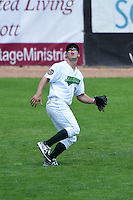 Jamestown Jammers outfielder Michael Suchy (35) tracks a fly ball during a game against the Mahoning Valley Scrappers on June 16, 2014 at Russell Diethrick Park in Jamestown, New York.  Mahoning Valley defeated Jamestown 2-1.  (Mike Janes/Four Seam Images)