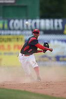 Batavia Muckdogs shortstop Marcos Rivera (8) turns a double play during a game against the West Virginia Black Bears on June 25, 2017 at Dwyer Stadium in Batavia, New York.  West Virginia defeated Batavia 6-4 in the completion of the game started on June 24th.  (Mike Janes/Four Seam Images)