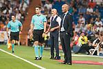 Real Madrid's Zinedine Zidane and Fiorentina's Stefano Pioli during XXXVIII Santiago Bernabeu Trophy at Santiago Bernabeu Stadium in Madrid, Spain August 23, 2017. (ALTERPHOTOS/Borja B.Hojas)