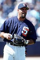 Ken Caminiti of the San Diego Padres at the Peoria Sports Complex in Peoria, Arizona during 1996 Spring Training. (Larry Goren/Four Seam Images)