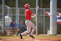 Ball State Cardinals right fielder Ross Messina (23) bats during a game against the Mount St. Mary's Mountaineers on March 9, 2019 at North Charlotte Regional Park in Port Charlotte, Florida.  Ball State defeated Mount St. Mary's 12-9.  (Mike Janes/Four Seam Images)