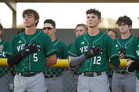 Venice Indians Marek Houston (5) and Michael Robertson (12) stand for the national anthem before a game against the Braden River Pirates on February 25, 2021 at Braden River High School in Bradenton, Florida.  (Mike Janes/Four Seam Images)