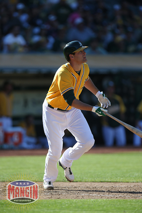 OAKLAND, CA - JUNE 13:  Nate Freiman #7 of the Oakland Athletics bats against the New York Yankees during the game at O.co Coliseum on Thursday June 13, 2013 in Oakland, California. Photo by Brad Mangin