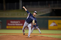 AZL Padres relief pitcher Chandler Newman (18) delivers a pitch to the plate against the AZL Indians on August 30, 2017 at Goodyear Ball Park in Goodyear, Arizona. AZL Padres defeated the AZL Indians 7-6. (Zachary Lucy/Four Seam Images)