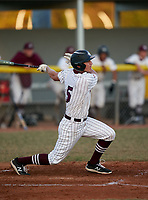 Braden River Pirates Carson Goda (5) bats during a game against the Venice Indians on February 25, 2021 at Braden River High School in Bradenton, Florida. (Mike Janes/Four Seam Images)
